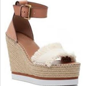 See By Chloe Cognac & White Platform Wedges Size 9